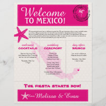 Hot Pink Ivory Wedding Welcome Letter for Mexico