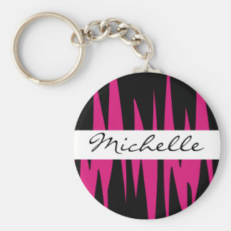 Hot Pink Jagged Stripes Personalized Keychain