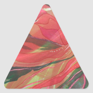Hot pink jungle flower with trailing foliage triangle sticker