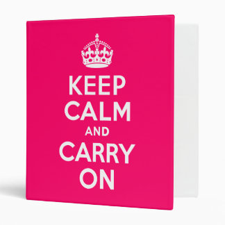 Hot Pink Keep Calm and Carry On Vinyl Binders