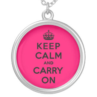 Hot Pink Keep Calm and Carry On (black) Round Pendant Necklace