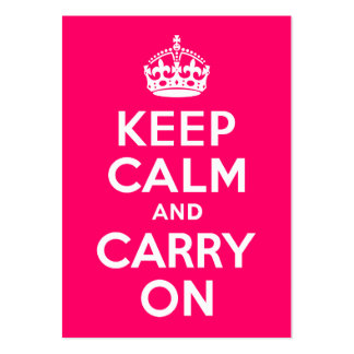 Hot Pink Keep Calm and Carry On Business Card Templates