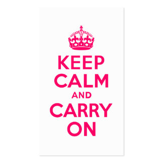 Hot Pink Keep Calm and Carry On Business Card