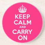 Hot Pink Keep Calm And Carry On Coaster at Zazzle