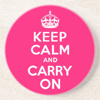Hot Pink Keep Calm and Carry On Coaster