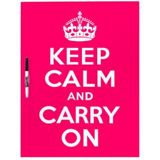 Hot Pink Keep Calm and Carry On Dry-Erase Board
