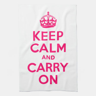Hot Pink Keep Calm and Carry On Kitchen Towel