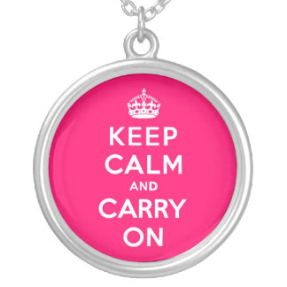 Hot Pink Keep Calm and Carry On Round Pendant Necklace