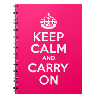 Hot Pink Keep Calm and Carry On Journal