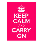 Hot Pink Keep Calm and Carry On Postcard