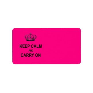 Hot Pink Keep Calm and Carry On Quote w Crown Labels