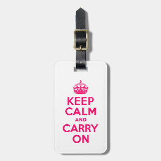 Hot Pink Keep Calm and Carry On Tags For Bags
