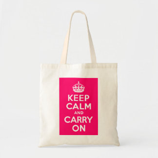 Hot Pink Keep Calm and Carry On Tote Bags