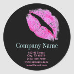 Hot Pink Kiss Makeup Artist Business Classic Round Sticker at Zazzle