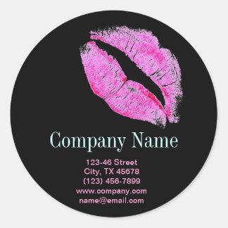hot pink kiss Makeup Artist Business Classic Round Sticker