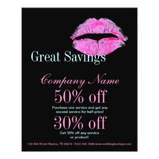 hot pink kiss Makeup Artist Business Flyer