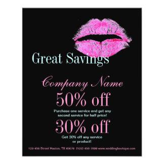 hot pink kiss Makeup Artist Business Flyers