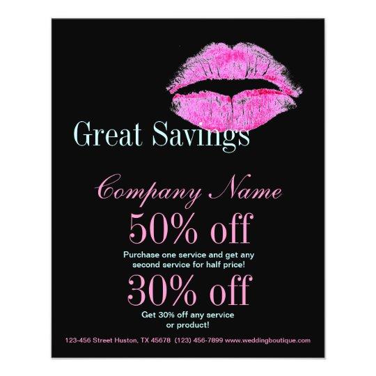 hot pink kiss Makeup Artist Business Flyer | Zazzle.com