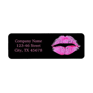 hot pink kiss Makeup Artist Business Return Address Label