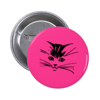Hot Pink Kitty Cat Face Button