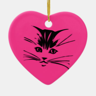Hot Pink Kitty Cat Face Ceramic Ornament