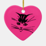 Hot Pink Kitty Cat Face Double-Sided Heart Ceramic Christmas Ornament