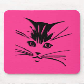 Hot Pink Kitty Cat Face Mouse Pad
