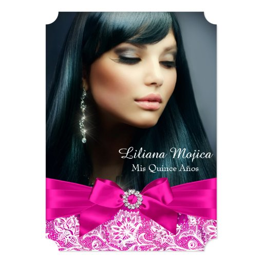 Hot Pink Lace & Jewel Bow Quinceanera Card