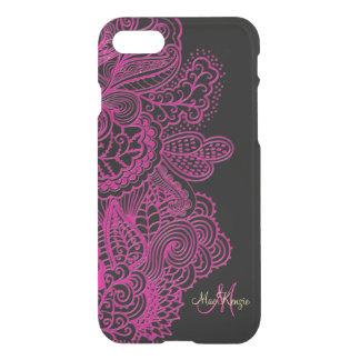 Hot Pink Lace On Black Monogram iPhone 7 Case