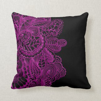 Hot Pink Lace On Black Or Any Color Throw Pillow
