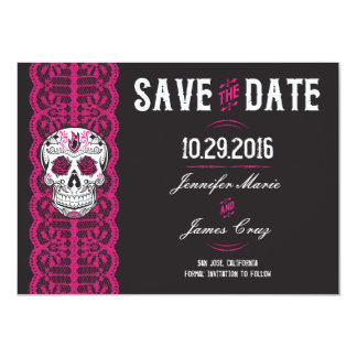 "Hot Pink Lace Sugar Skull Save the Dates 4.5x6.25"" Card"