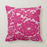 Hot pink Lace Throw Pillows