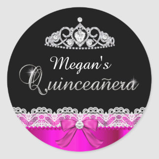 Hot Pink Lace & Tiara Quinceanera Sticker
