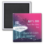 Hot Pink Las Vegas Strip Wedding Save the Date 2 Inch Square Magnet