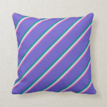 [ Thumbnail: Hot Pink, Lavender, Dark Cyan & Slate Blue Colored Throw Pillow ]