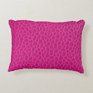 Hot Pink Leather Texture Decorative Pillow