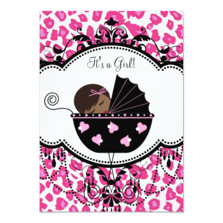 Hot Pink Leopard African American Baby Girl Shower Announcements