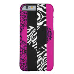 Hot Pink Leopard and Zebra Animal Heart Barely There iPhone 6 Case