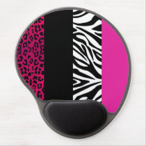 Hot Pink Leopard and Zebra Animal Print Gel Mouse Pad