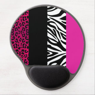 Hot Pink Leopard and Zebra Animal Print Gel Mouse Mats