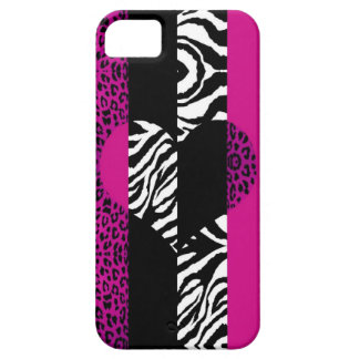 Hot Pink Leopard and Zebra Animal Print Heart iPhone SE/5/5s Case