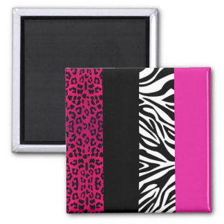 Hot Pink Leopard and Zebra Animal Print Magnet