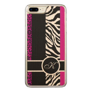 Hot Pink Leopard and Zebra Animal Print Monogram Carved iPhone 7 Plus Case
