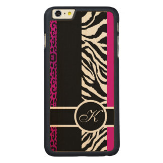 Hot Pink Leopard and Zebra Animal Print Monogram Carved® Maple iPhone 6 Plus Case