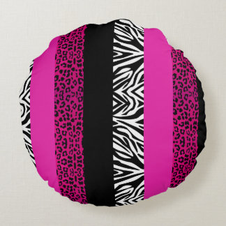 Hot Pink Leopard and Zebra Animal Print Round Pillow