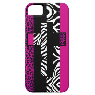 Hot Pink Leopard and Zebra Animal Print with Cross iPhone SE/5/5s Case