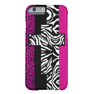Hot Pink Leopard and Zebra Animal with Cross Barely There iPhone 6 Case