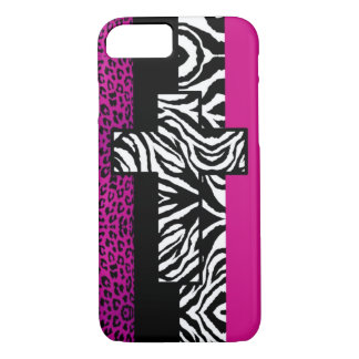 Hot Pink Leopard and Zebra Animal with Cross iPhone 7 Case