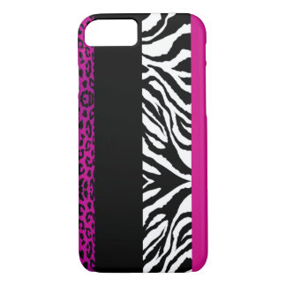 Hot Pink Leopard and Zebra Custom Animal iPhone 8/7 Case