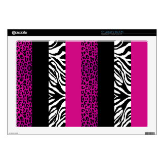 "Hot Pink Leopard and Zebra Custom Animal Print 17"" Laptop Skins"